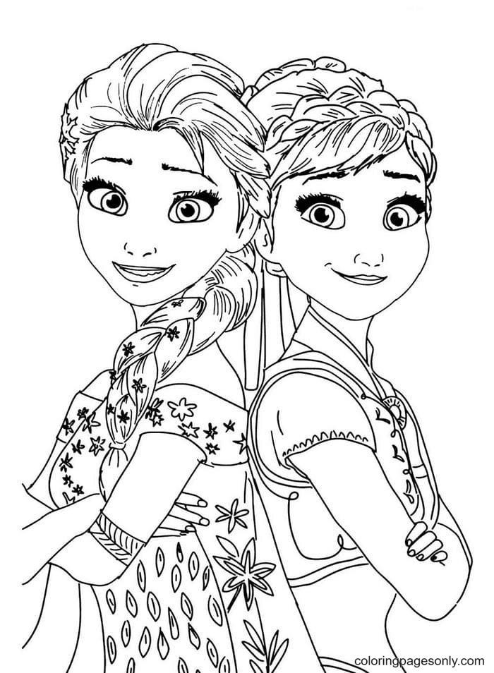 Sisters Elsa and Anna Coloring Page
