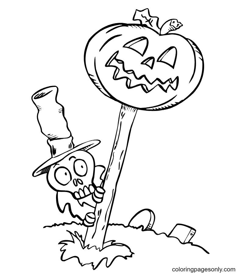 Skeleton Pumpkin Halloween Coloring Page
