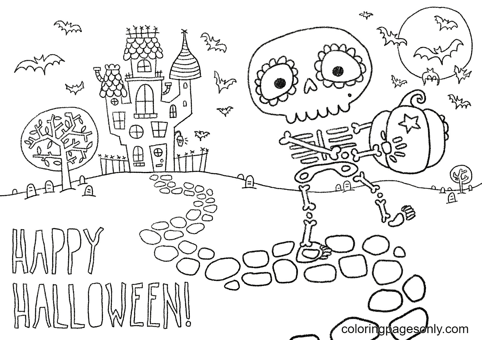 Skeleton with Pumpkin Came Out of the Castle Coloring Page