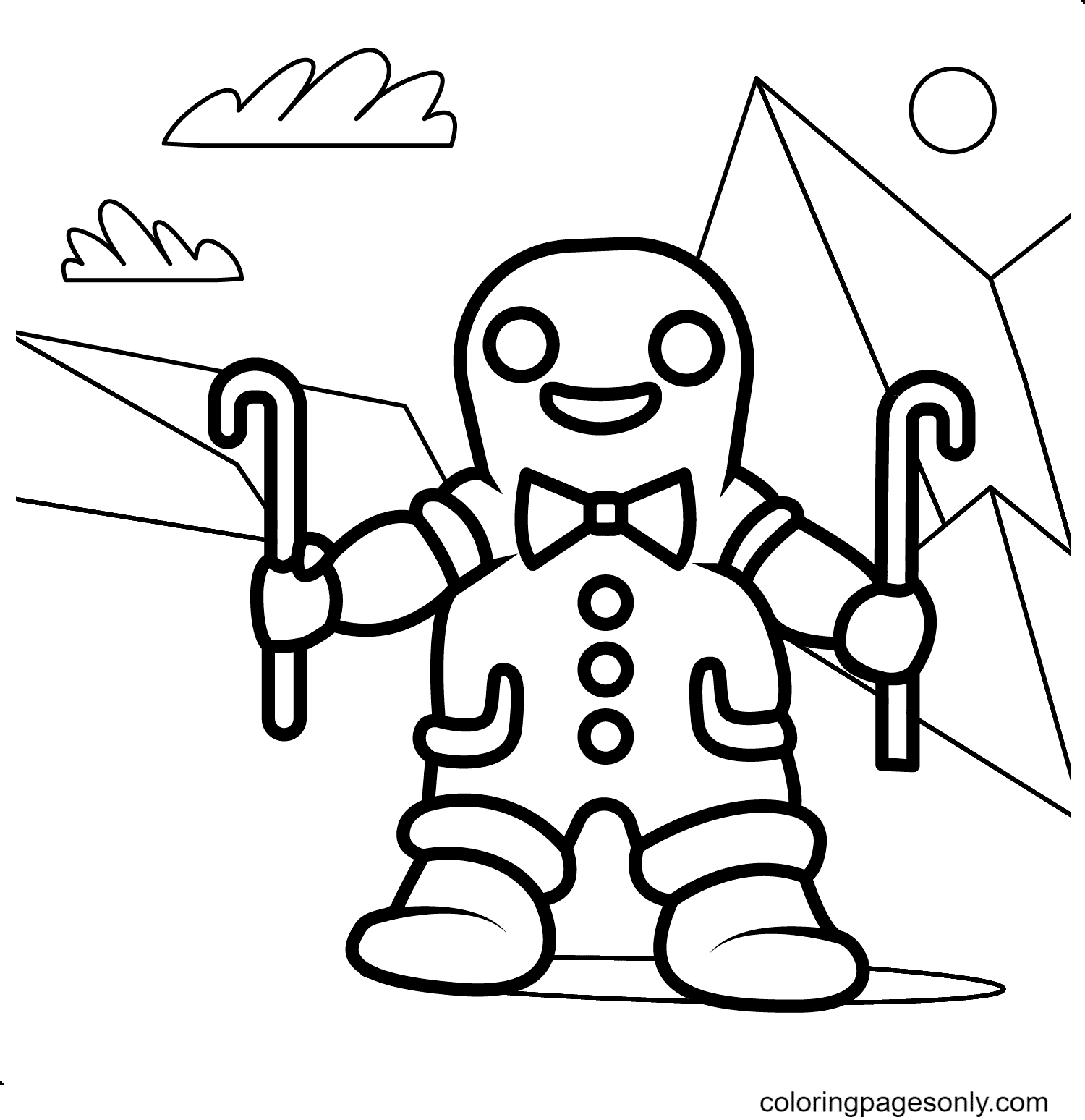 Ski Gingerbread Man Coloring Page