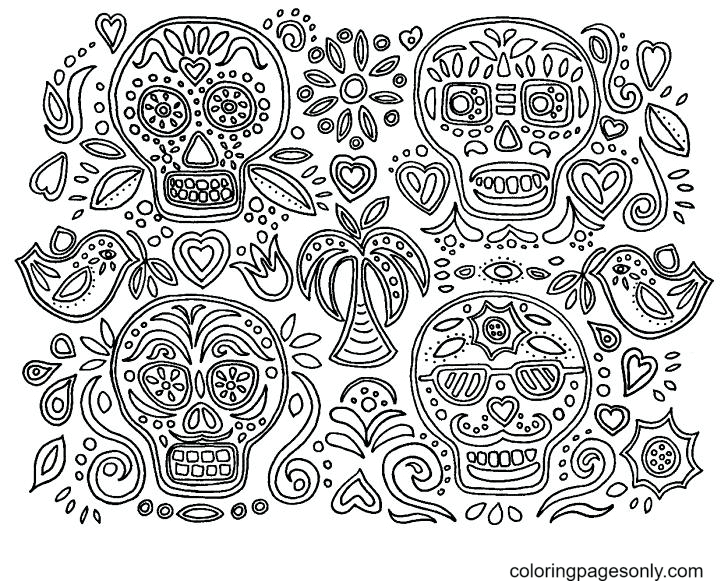 Skulls October Coloring Page