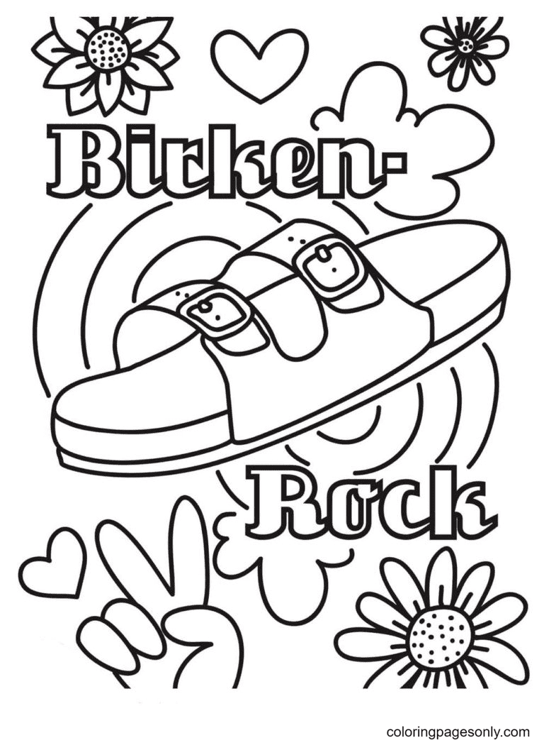 Slippers Aesthetic Drawings Coloring Page