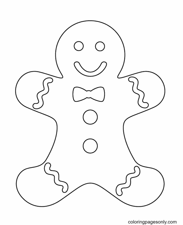 Smiling Gingerbread Man Coloring Page