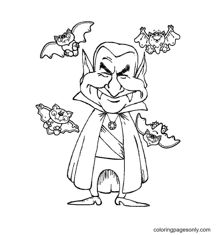 Smiling Vampire With Four Bats Coloring Page