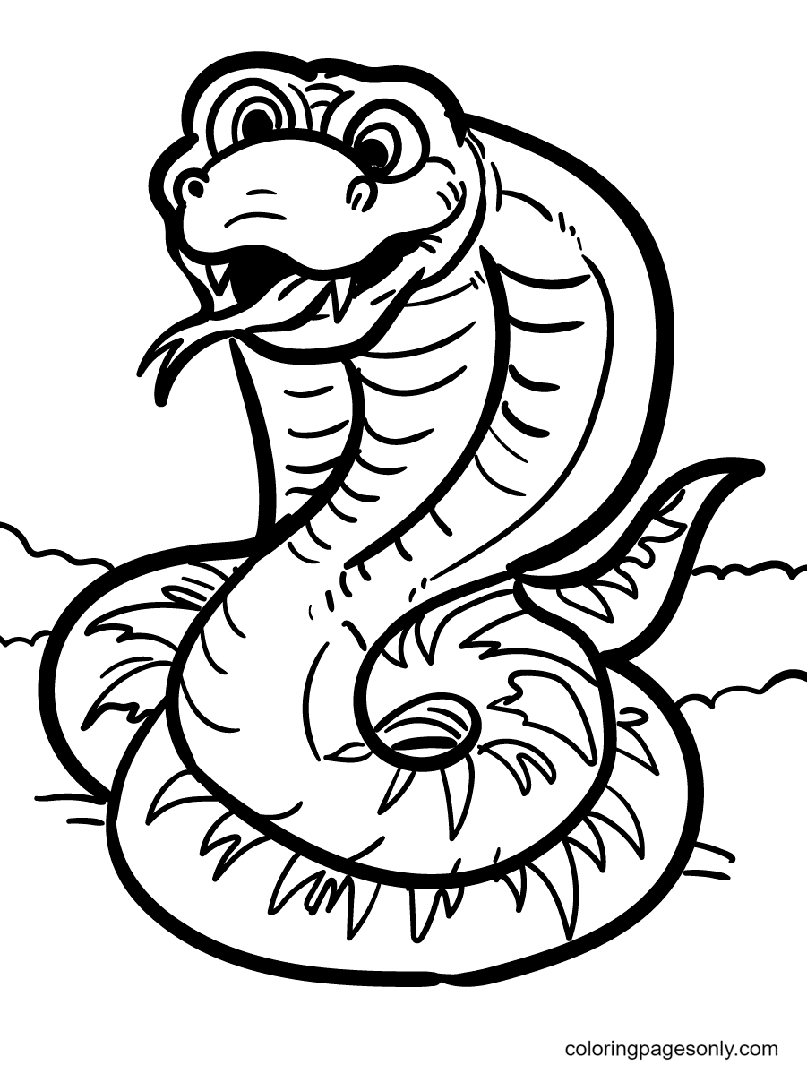 Snake Looks Fun Coloring Page