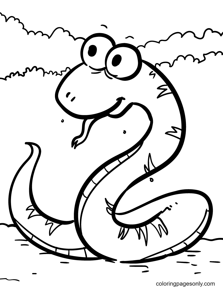 Snake Quite Happy Coloring Page
