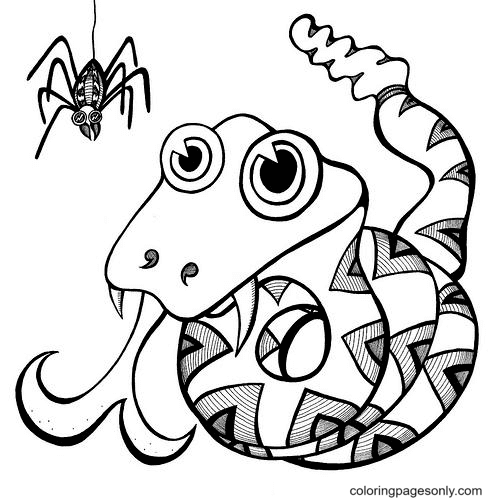 Snake with Spider Coloring Page