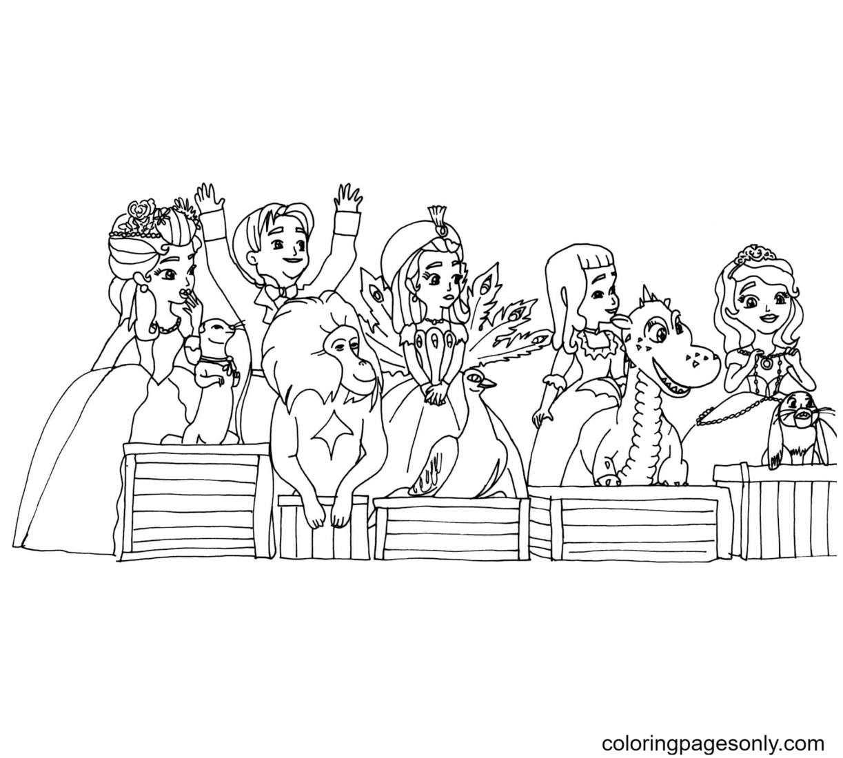 Sofia Cartoon Characters Coloring Page