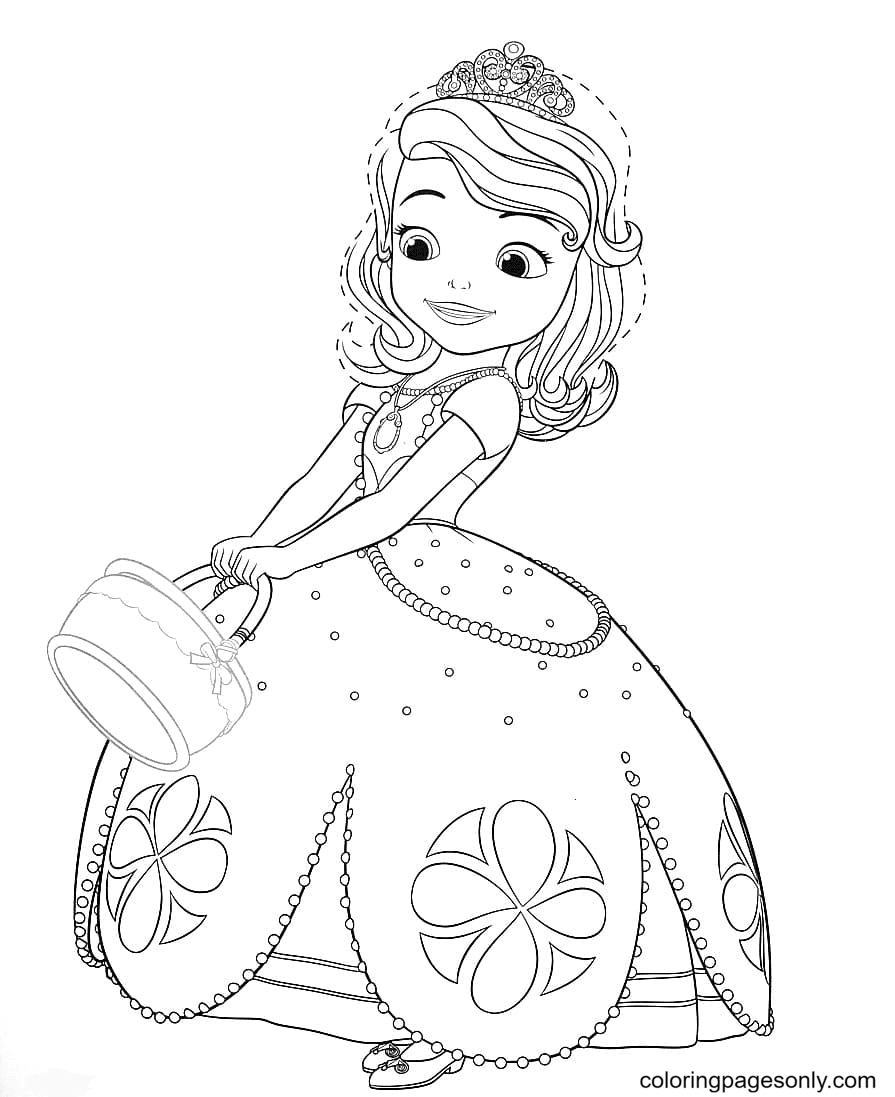 Sofia goes for a walk in the Forest Coloring Page