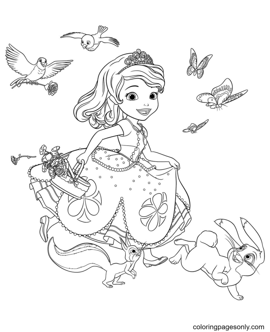 Sofia hurries to the holiday Coloring Page