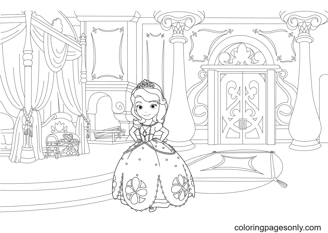 Sofia in Her Room Coloring Page