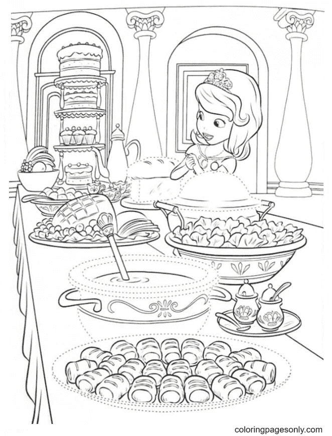 Sofia sits at the Festive Table Coloring Page