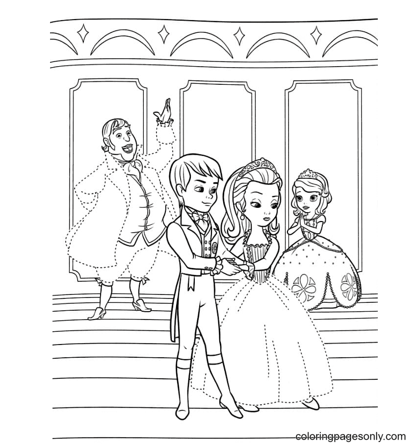 Sofia worries about her sister in a dance lesson Coloring Page