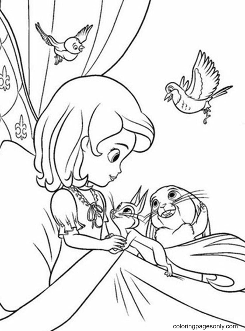 Sofia's Morning at the Royal Castle Coloring Page