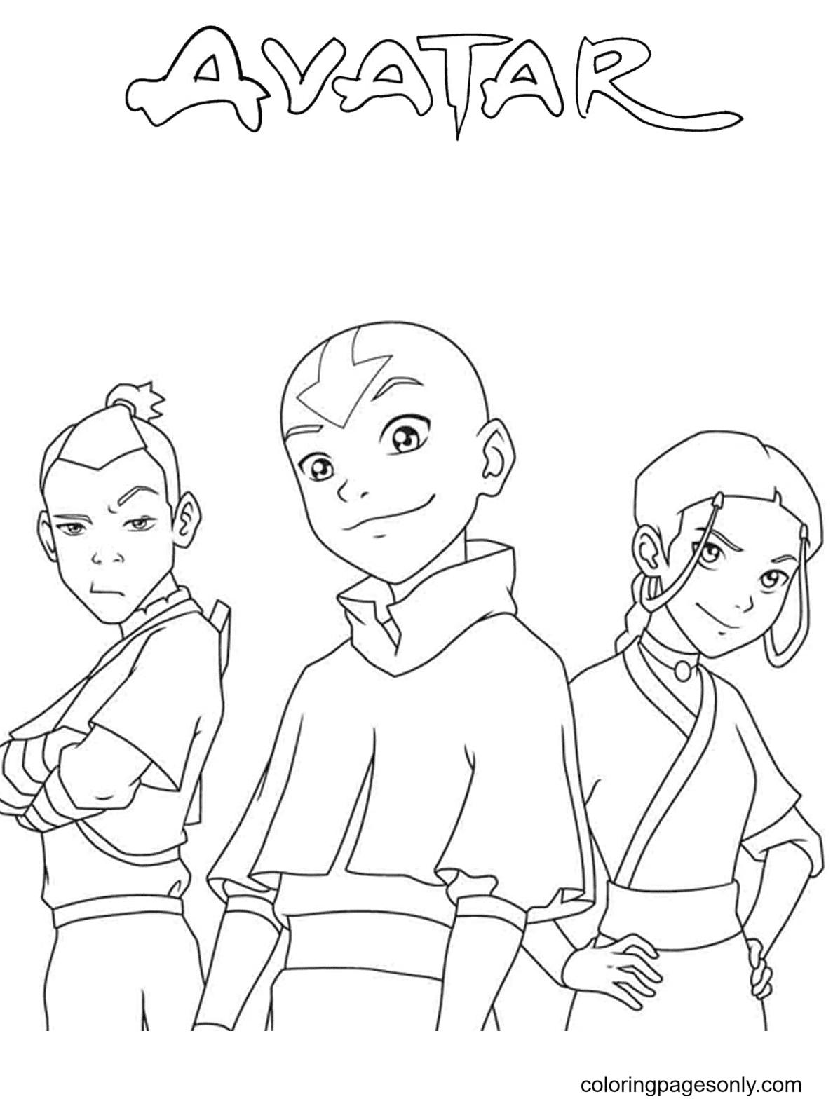 Sokka, Aang and Katara Coloring Page