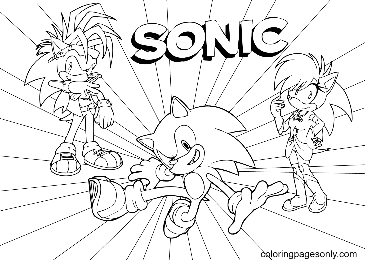 Sonic, Amy Rose and Shadow Coloring Page