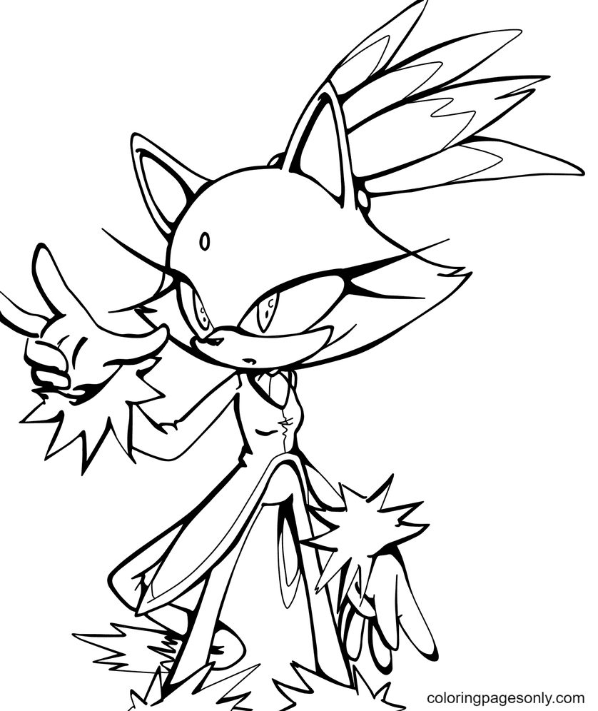 Sonic Blaze The Cat Coloring Page