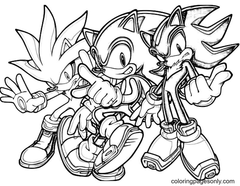 Sonic Generations Silver The Hedgehog Team Coloring Page