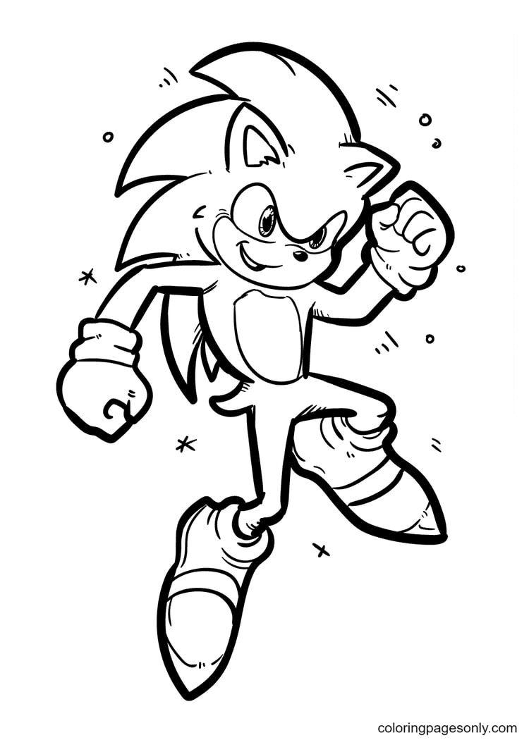 Sonic is Very Powerful Coloring Page
