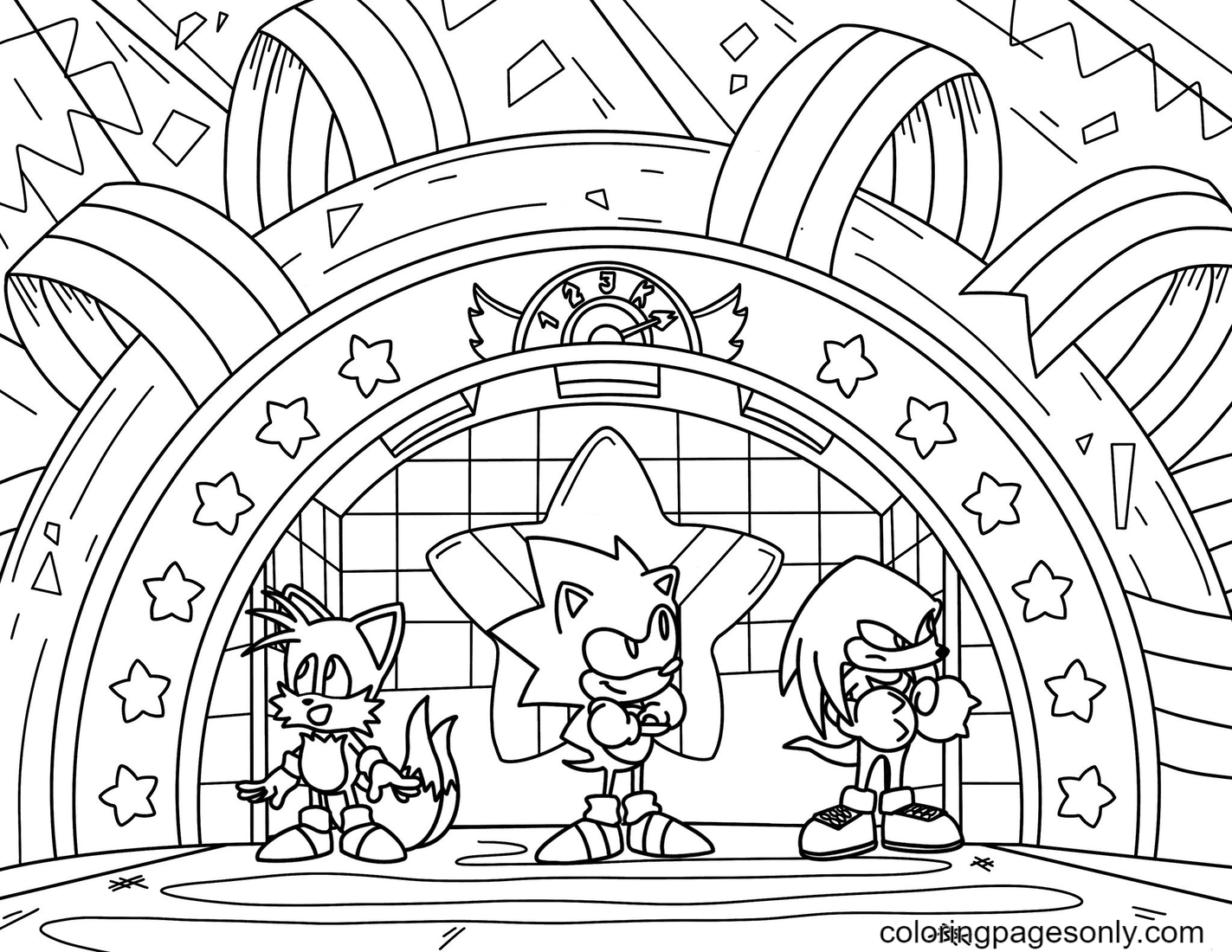 Sonic the Hedgehog Happy Friday Coloring Page