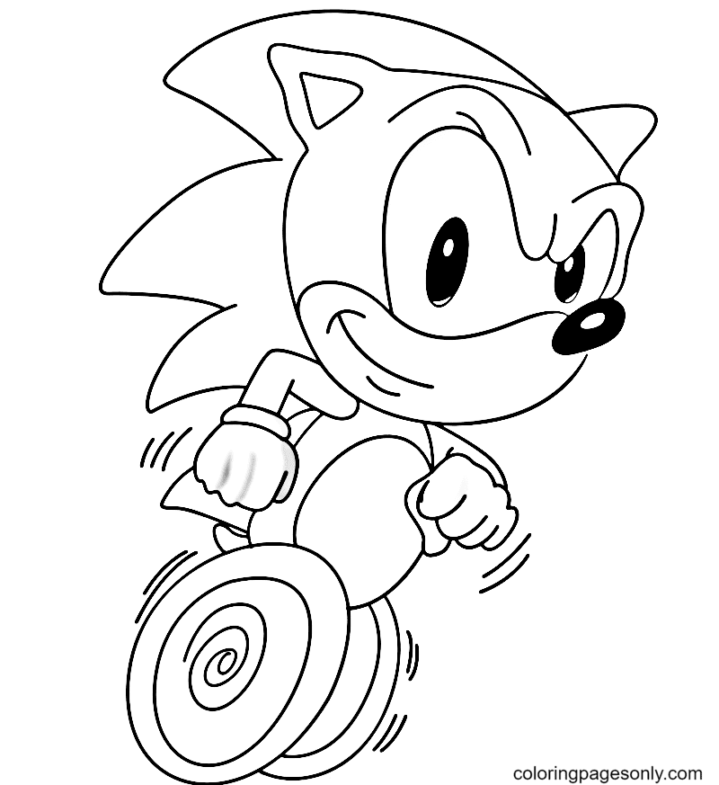 Sonic the Hedgehog Running Coloring Page