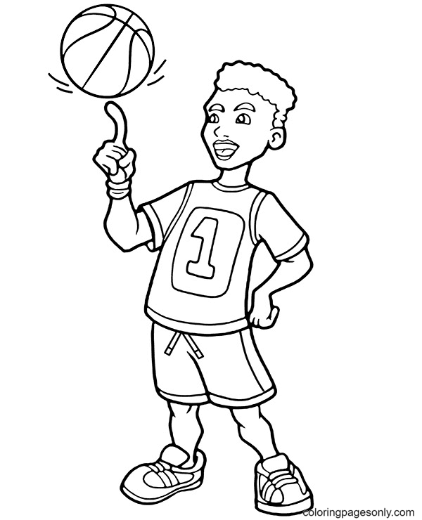 Spin a Ball on a Finger Coloring Page