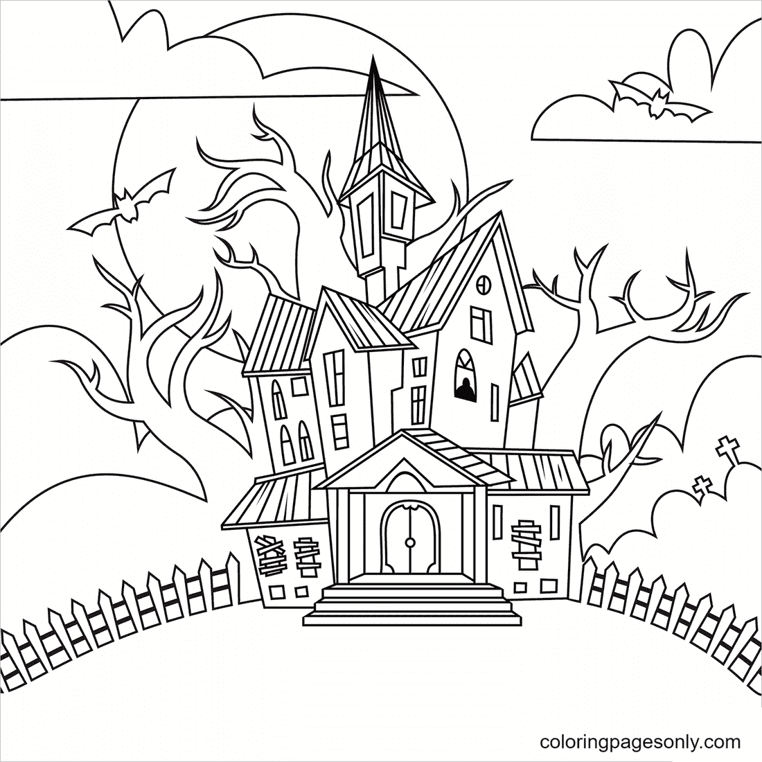 Spooky House with Ghosts Coloring Page