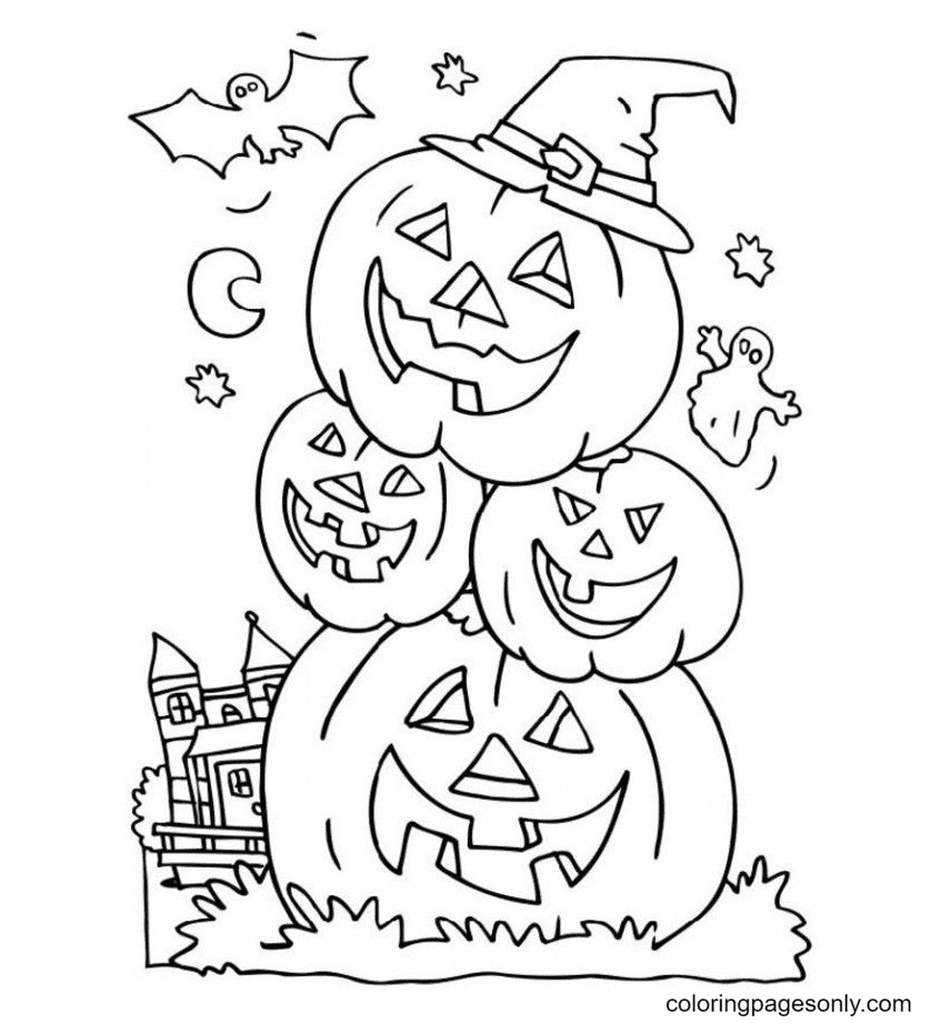 Stack Of Halloween Pumpkins Coloring Page
