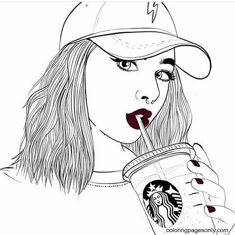 Starbucks Coffee and Girl Coloring Page