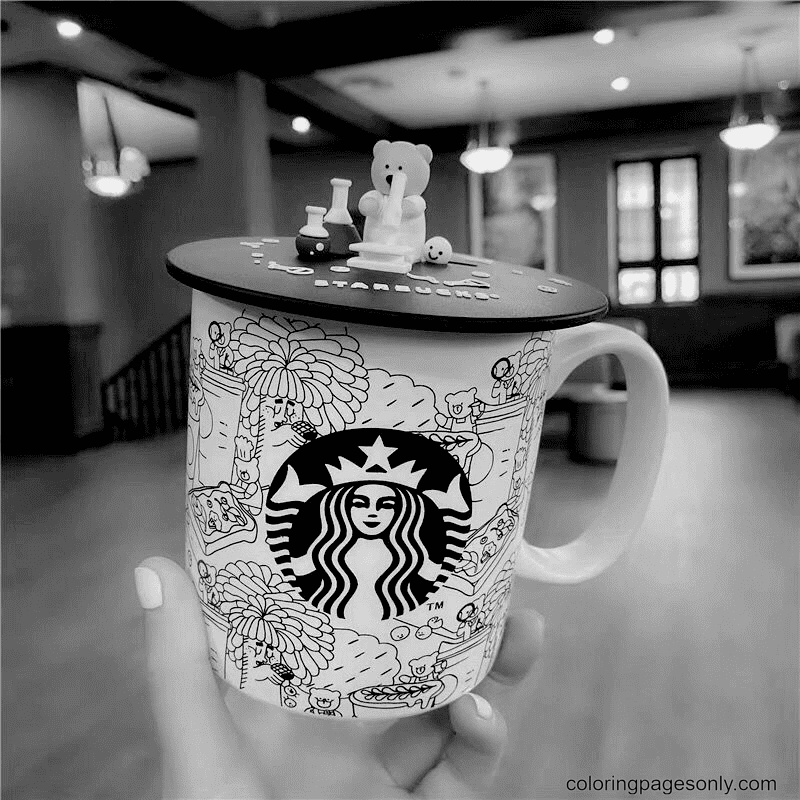 Starbucks Lovely Bear Coffee Coloring Page
