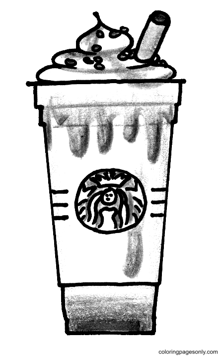 Starbucks Strawberry Frappuccino Coloring Page