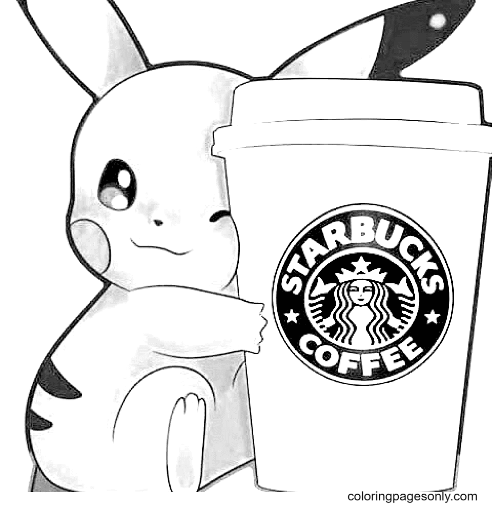 Starbucks and Pikachu Coloring Page