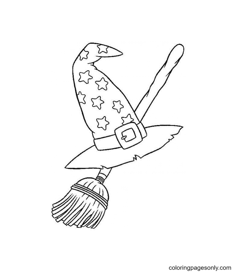 Starry Witch Hat and Flying Broom Coloring Page
