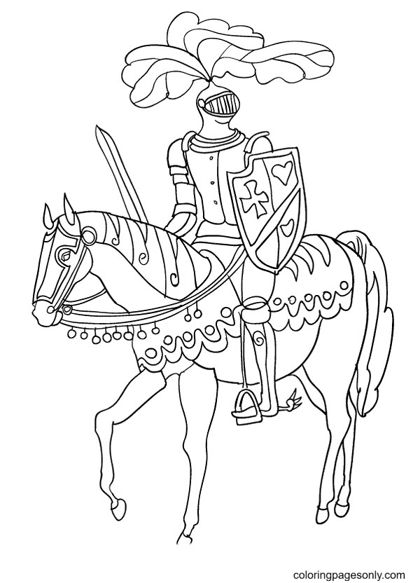 Steed with Knight Coloring Page