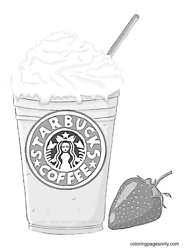 Strawberry Frappuccino Printable Coloring Page