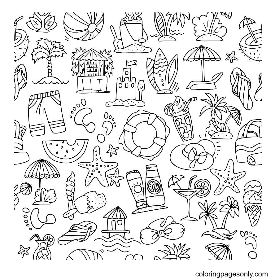 Summer Aesthetics Coloring Page