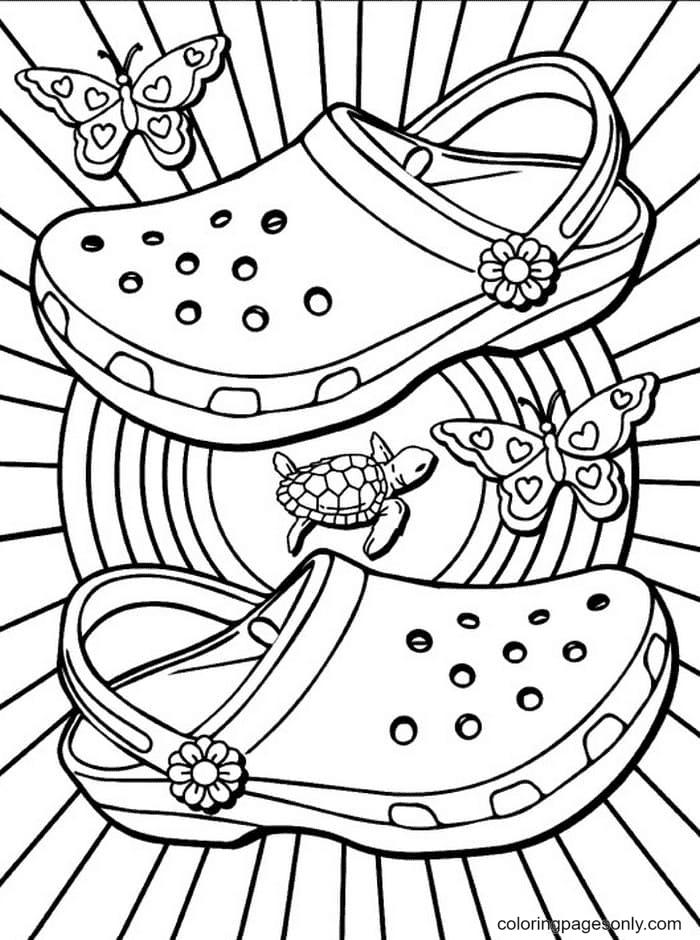 Summer Footwear Aesthetic Coloring Page