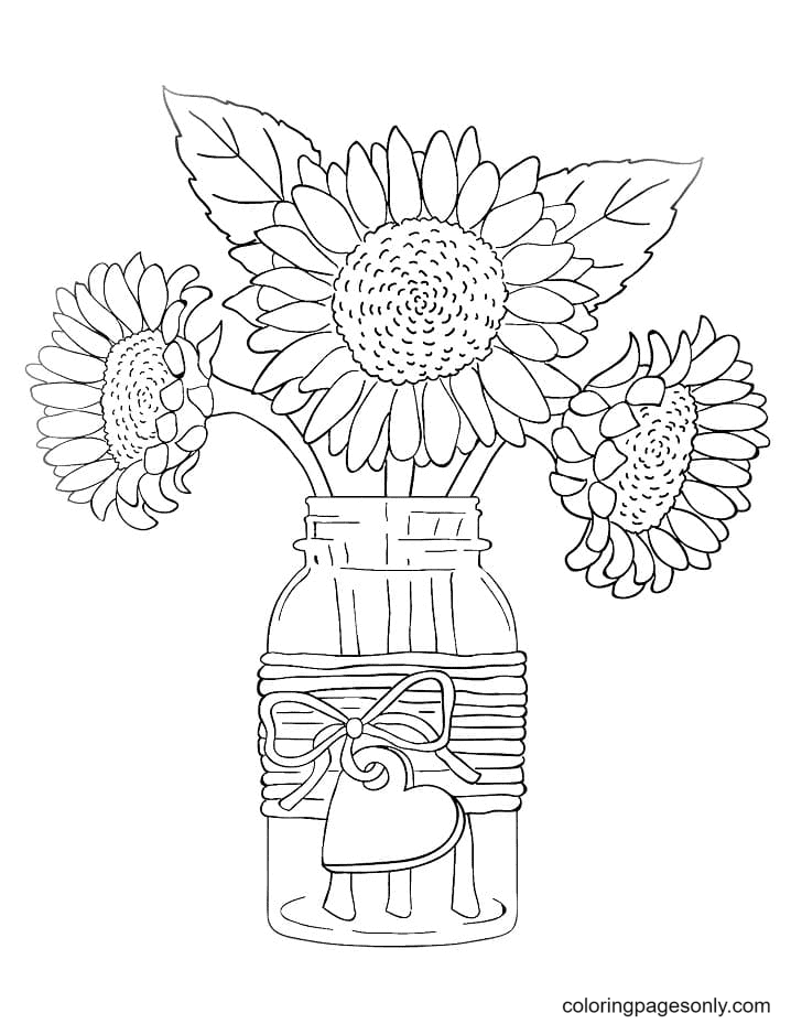 Sunflowers Aestheics Coloring Page