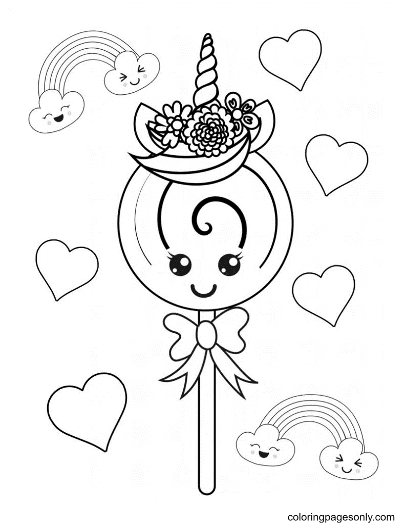 Super Cute Unicorn Candy Coloring Page