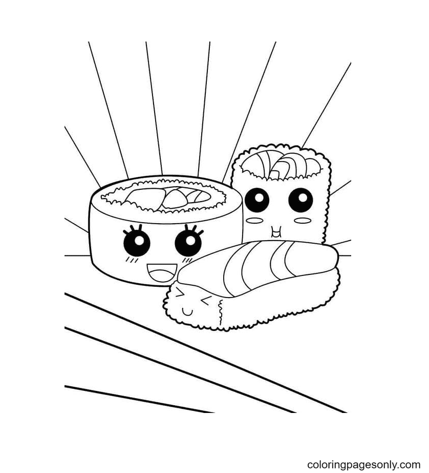 Sushi and kawaii rolls Coloring Page