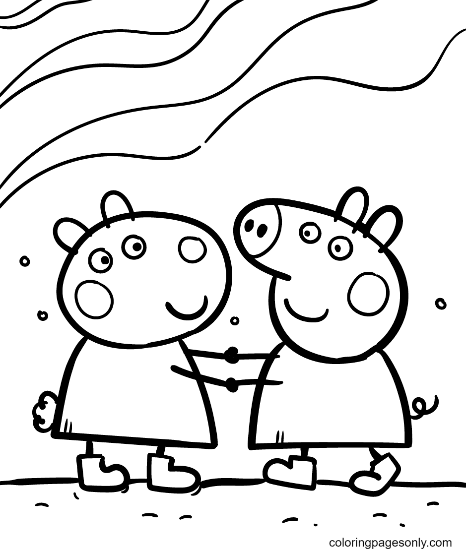 Suzy and Peppa Coloring Page
