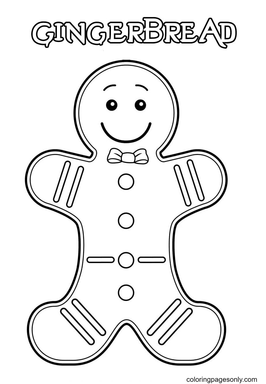 Sweet Gingerbread Man Coloring Page