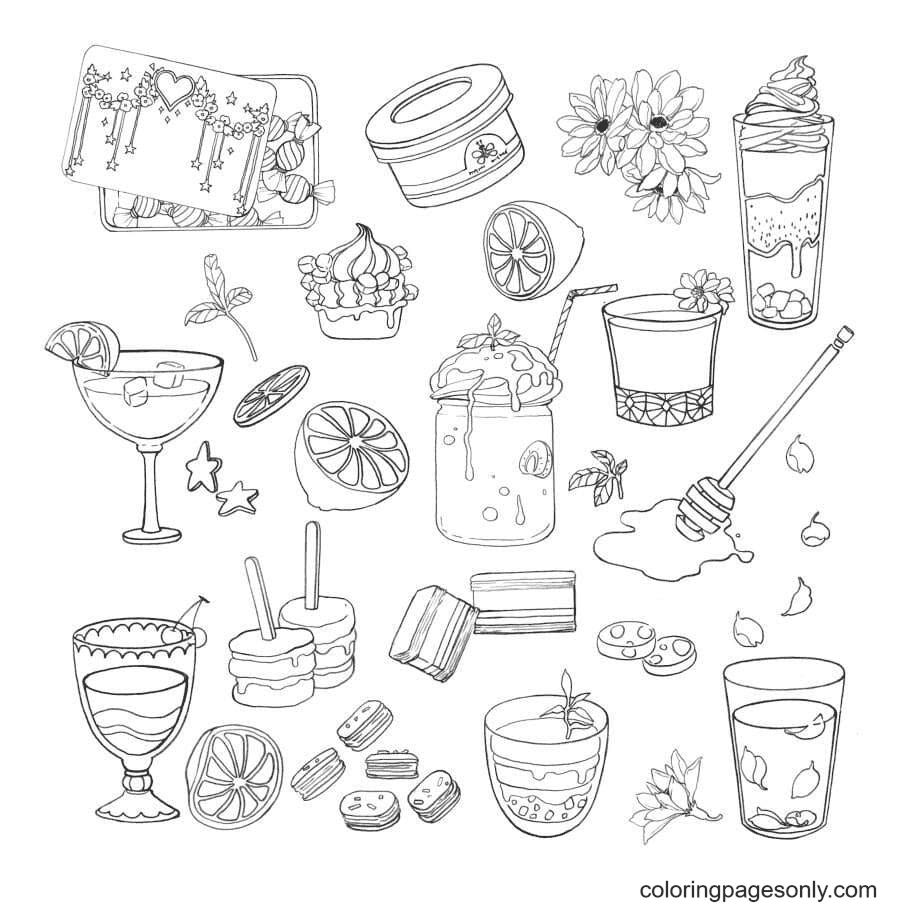 Sweets Aesthetics Coloring Page