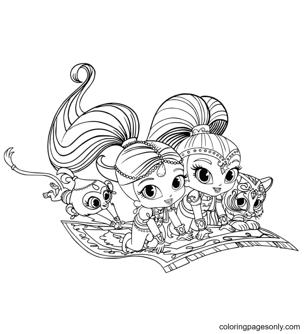 Tala and Nahal are Shimmer and Shine's pets Coloring Page