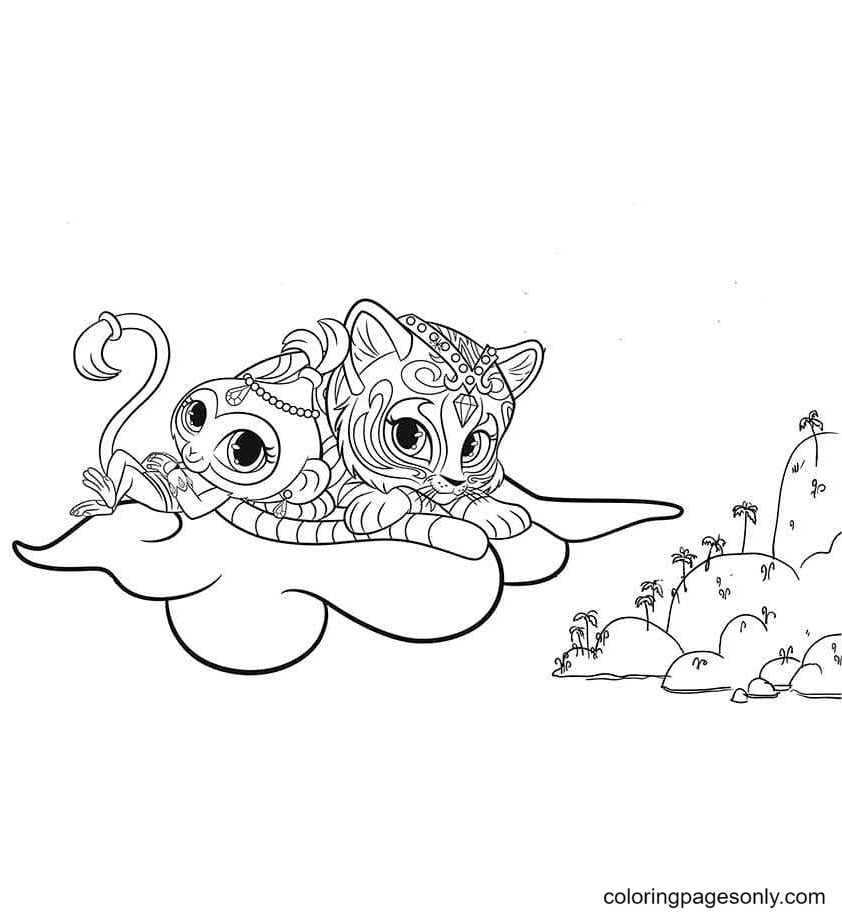 Tala and Nahal on a cloud Coloring Page