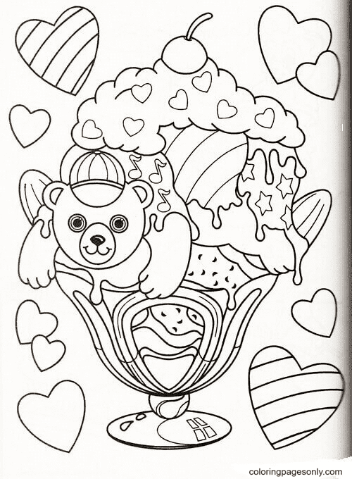 Teddy bear and ice cream Coloring Page