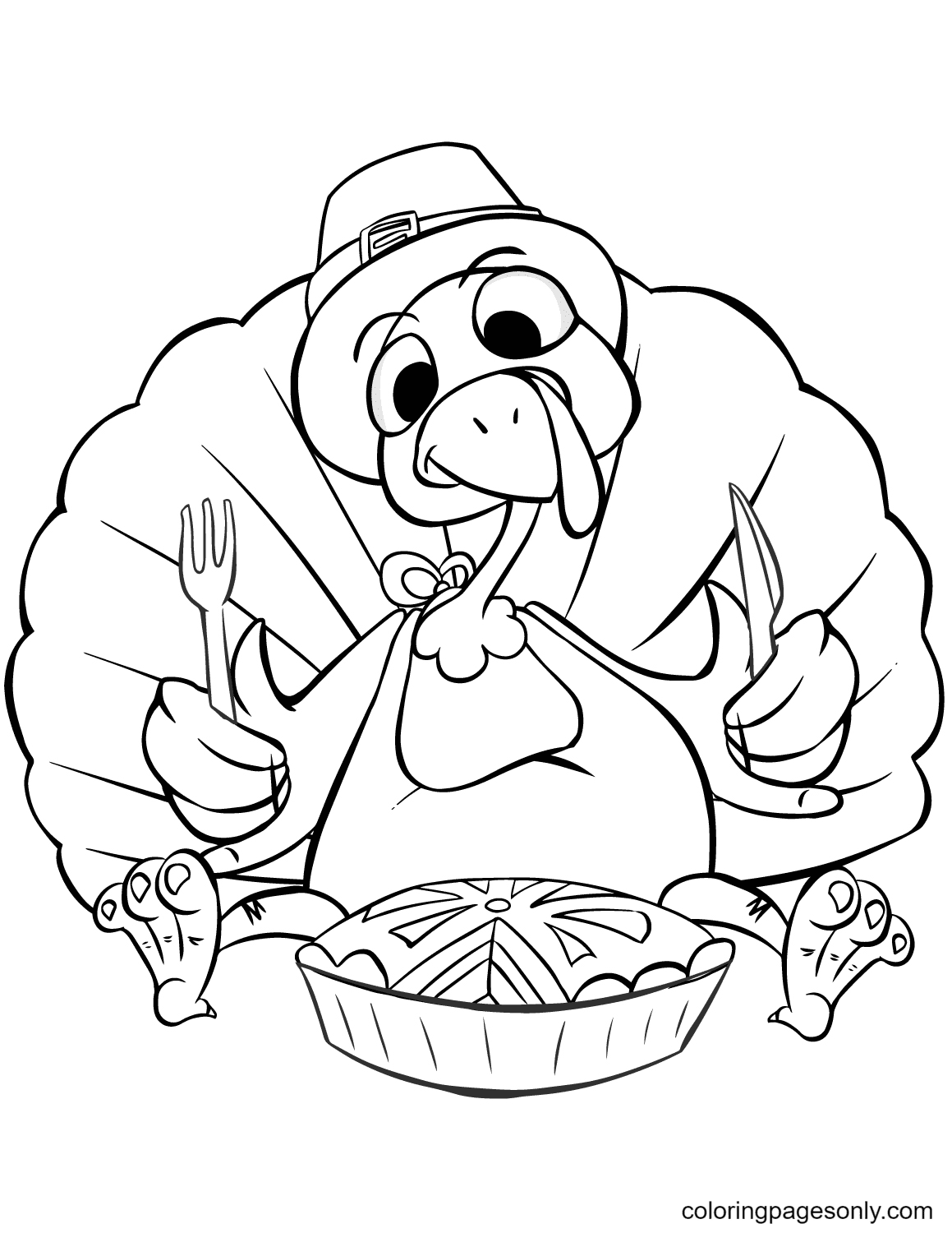 Thanksgiving Dinner Turkey Coloring Page