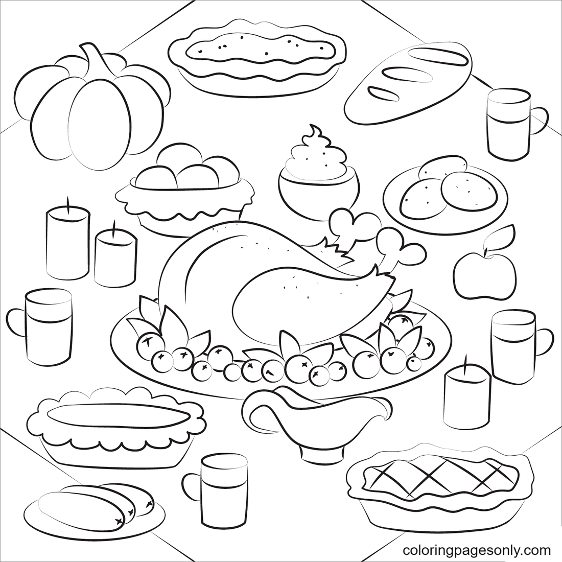 Thanksgiving Dinner with Turkey Dish Coloring Page