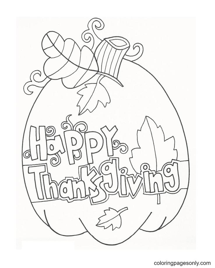 Thanksgiving Pumpkin Printable Coloring Page