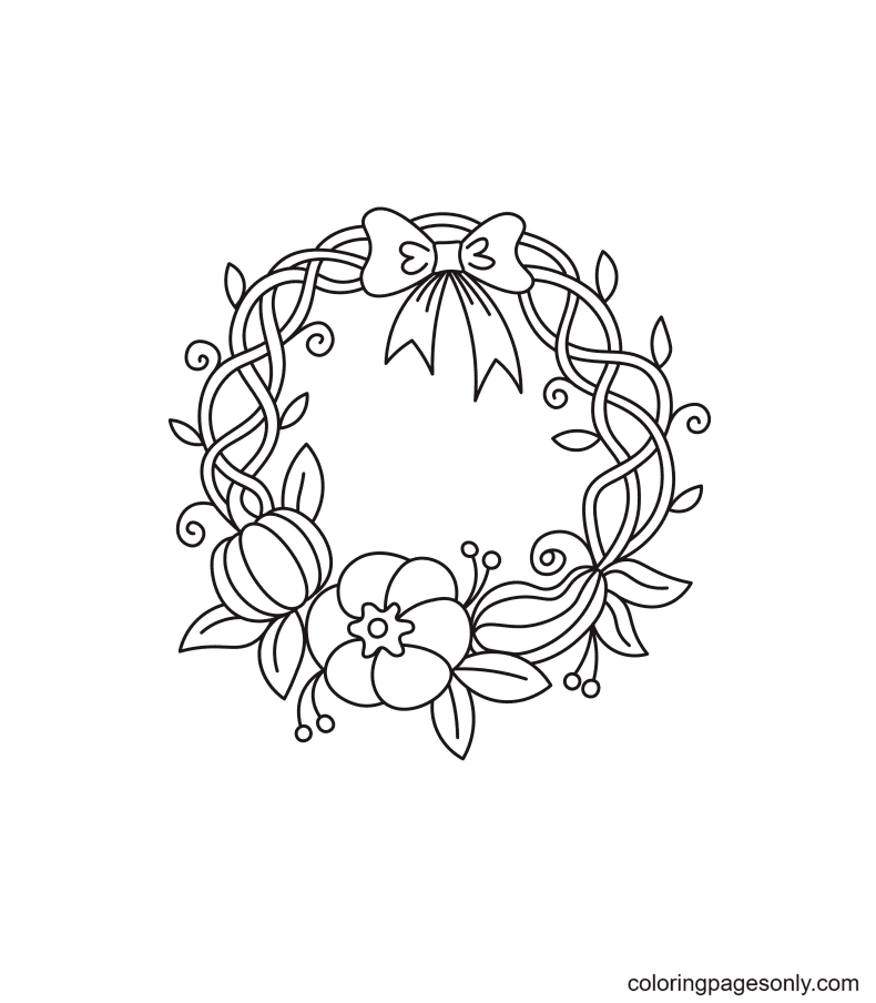 Thanksgiving Pumpkin Wreath Coloring Page